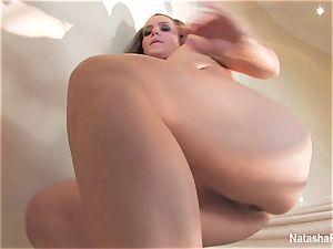 stunning porn industry star Natasha drains on the stairway