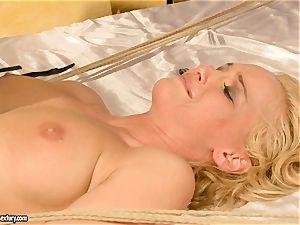 torrid Kathia Nobili gets her vagina packed with chisel