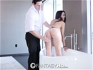 Dillion Harper takes a geyser of cum