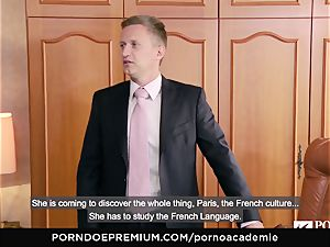 pornography ACADEMIE Lana Rhoades enjoys pummeling French beef whistle