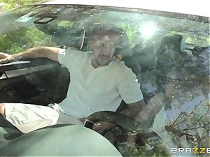 Hopeful driver Sara Luvv bangs her driving teacher