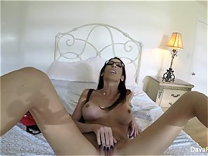 huge-chested brown-haired Dava's home movie masturbation