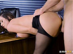 Office big-boobed babe Ariella Ferrera takes huge dick