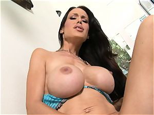 Bigboobed Mckenzie Lee push's and pull's a pinkish toy up and down her hole