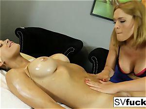 Sarah Vandella girl/girl rubdown