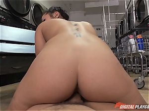 Caught on camera in the laundrette with spectacular honey Morgan lee