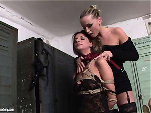 Kathia NObili tormenting a torrid brown-haired lady