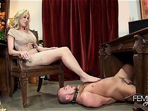 insatiable gigantic bosses Headmistress Brandi enjoy dominates her employee in the office