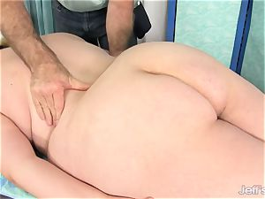 plumper Gets Her assets, puss and backside massaged