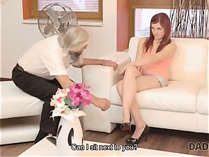DADDY4K. dirty man thumbs gf for cuckold on him with naughty parent