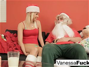 Vanessa letting Santa boink her cock-squeezing raw cooch