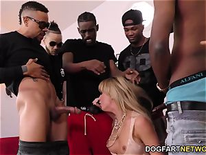 Cherie DeVille Gives fellatio To A gang Of ebony dude