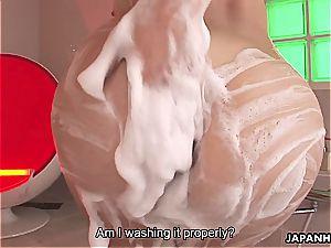 seductive Karin Kusunoki satiates cock with her wooly poon