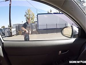 CAUGHT! ebony doll gets squirted deepthroating off a cop