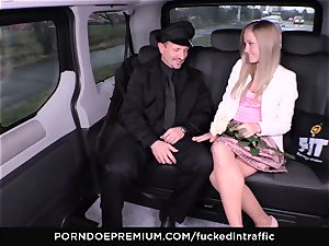 pounded IN TRAFFIC - cum on backside for naughty slim blond