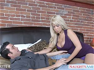 huge-chested platinum-blonde Bridgette B. take spear