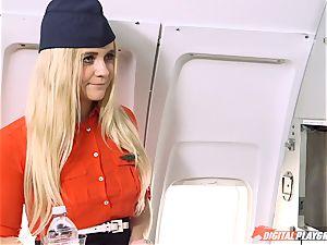 Stewardess Veronica Rodriguez creating turbulence