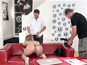 unveiled audition - Russian blonde banged at casting