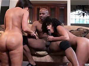 Lisa Ann and Misty Stone slobber over this firm trunk
