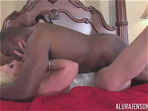 Alura Jenson gets her pretty mouth filled with stiff black trunk