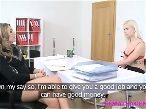 FemaleAgent inked blond makes a sexual deal