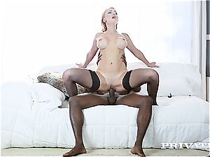 Eurobabe Iskra gets her meaty knockers jiggled around by a big black cock