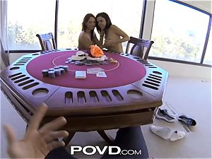POVD unclothe poker leads teenager chicks into splendid three-way