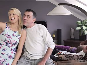 DADDY4K. father and youthful doll love anal lovemaking near his sleeping son