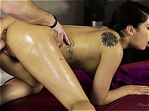 diminutive Gina Valentina gets lubed up and kneaded