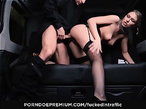 banged IN TRAFFIC - handsome bombshell smashed deep in car pound