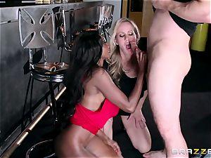 Mature womens Diamond Jackson & Simone Sonay get their giant bootie boning on the bar