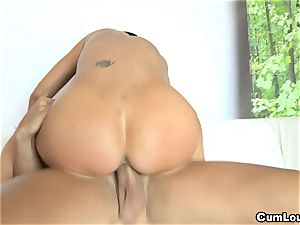 chesty Jasmine Jae railing a phat bone with her globes out