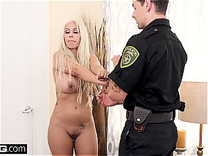 blond milf lets a police officer in her taut cootchie