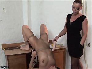 Kathia Nobili and C J made to do faux-cock deep-throating