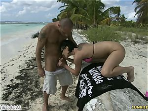 Exotic outdoor fuck-fest on a paradise beach