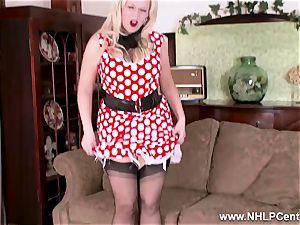 steaming blonde undresses off vintage white underwear fucktoys honeypot
