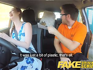 faux Driving college Nerdy redhead teenager schoolgirl