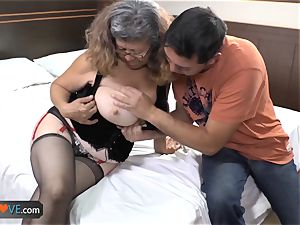 AgedLovE Latina plump grandmother plowing youngster