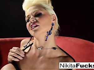 Russian milf Nikita does bondage solo with a vibro