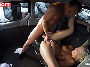 platinum-blonde ultra-cutie dumps all over the backseat of a van