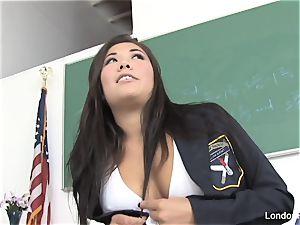 japanese babe London masturbates on a glass table