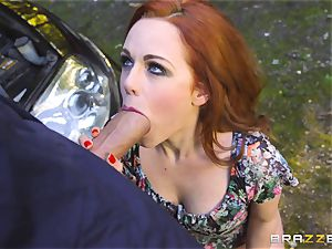 Stranded stunner Ella Hughes plows for her car fix