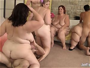 nasty plumper fuck-fest with 4 plus-size babes
