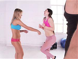 Lola Foxx and Aubrey Addams threesome lovemaking at the gym