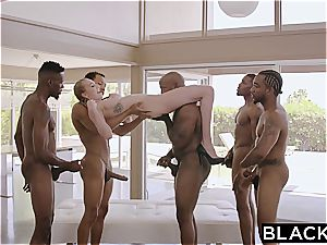 Kendra's milky cunt gang-fucked by 5 thick dark-hued dongs